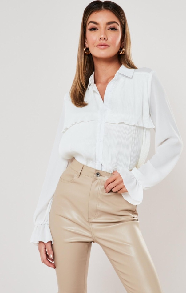 White Poplin Pleated Front Shirt